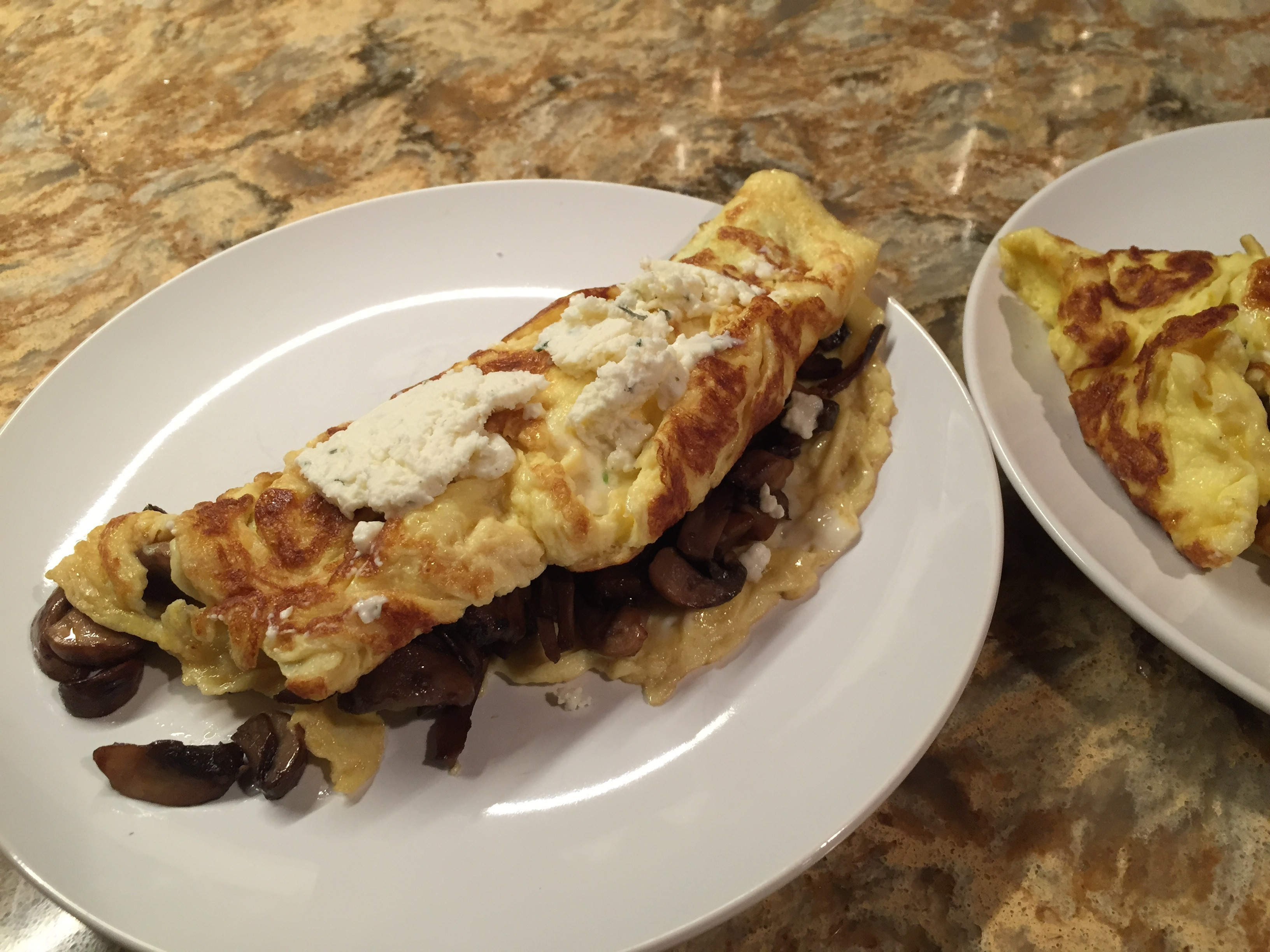 Not Paleo, but dang good Cheesy Mushroom Omelettes